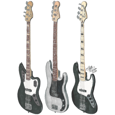 Justin Hills Ernie Ball Music Man 5-String Basses art work