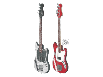 Mikey Way's Fender Mustang Basses from Danger Days